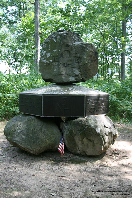 Monument to the 5th New Hampshire at Gettysburg National Battlefield Park CreativeCommons licensed photo by Flickr user BattlefieldPortraits.com