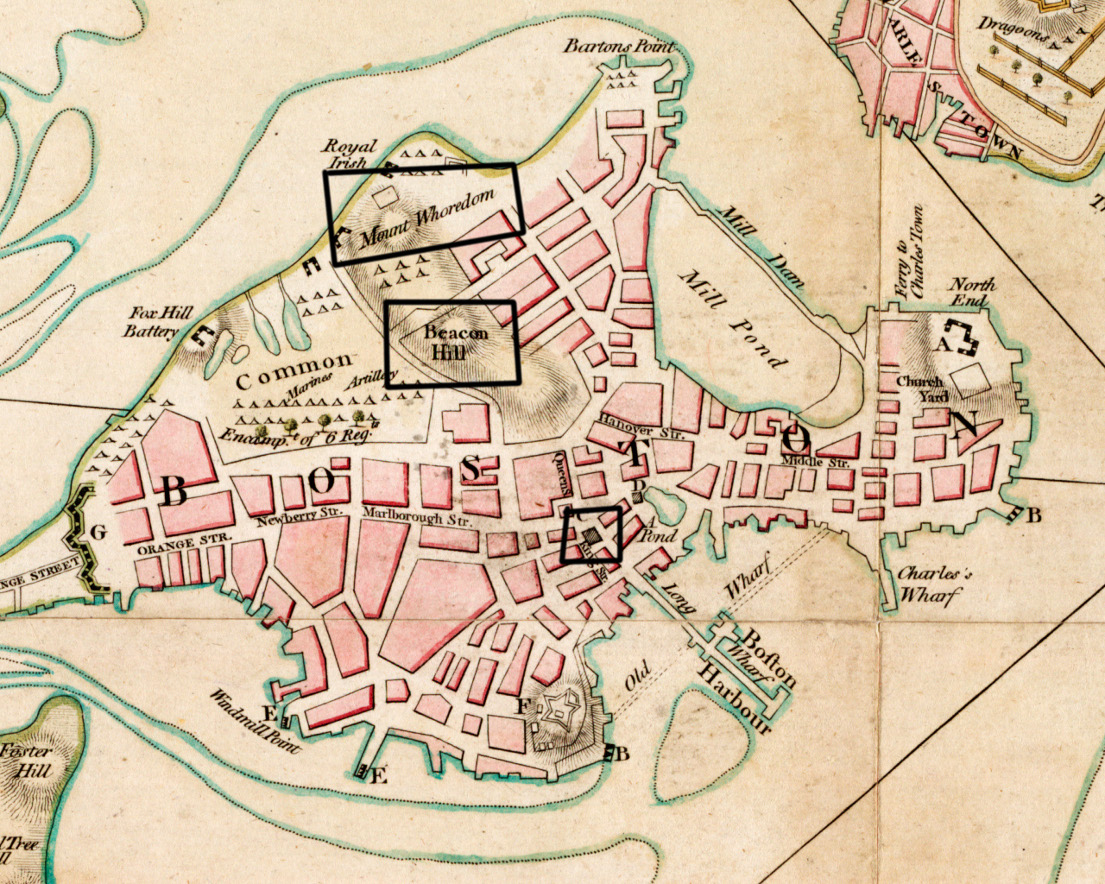 "Features such as the ones in the black polygons are ones that I've encouraged the students to annotate. What is that black box? How has Beacon Hill's function changed? What in the world is Mount Whoredom? These are all questions that we hope to answer. (Zoom of Richard WIlliams, ""A plan of Boston and its environs,"" 1775."