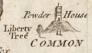 Boston Common, with Powder House and Liberty Tree, 1774